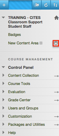 Content area menu
