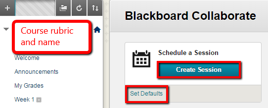 Create Session or Set Defaults for all sessions